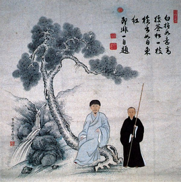 Portrait_of_Jifei_and_Baigan_Inscription_by_Jifei_color_on_paper_hanging_scroll_Fukuju-ji_Temple_Fukuoka_Pref