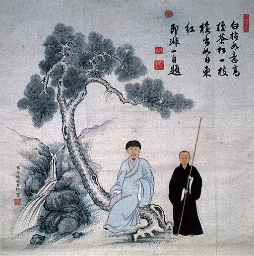 Portrait_of_Jifei_and_Baigan_Inscription_by_Jifei_color_on_paper_hanging_scroll_Fukuju-ji_Temple_Fukuoka_Pref
